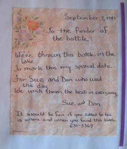 My wedding message in a bottle